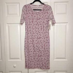 NWT Lularoe Julia Lavender Dot & Stripe Dress M